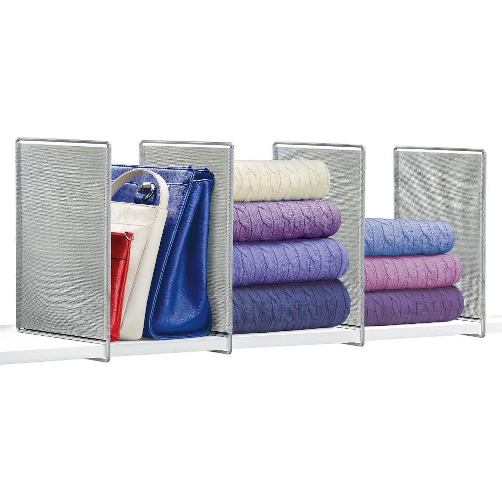 Image of Lynk Vela Shelf Dividers (Set of 4) - Closet Shelf Organizer - Platinum, Silver