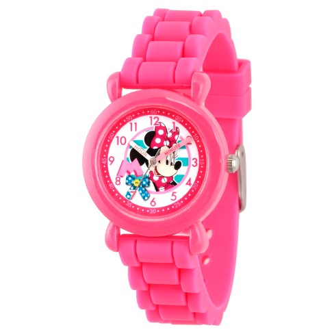 Girls' Disney Minnie Mouse Pink Plastic Time Teacher Watch - Pink - image 1 of 2