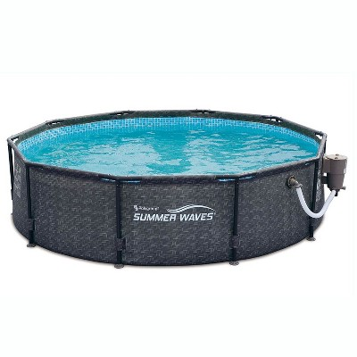 Summer Waves P20010301 Active 10ft x 30in Outdoor Round Frame Above Ground Swimming Pool Set with 120V Filter Pump with GFCI, Gray Wicker