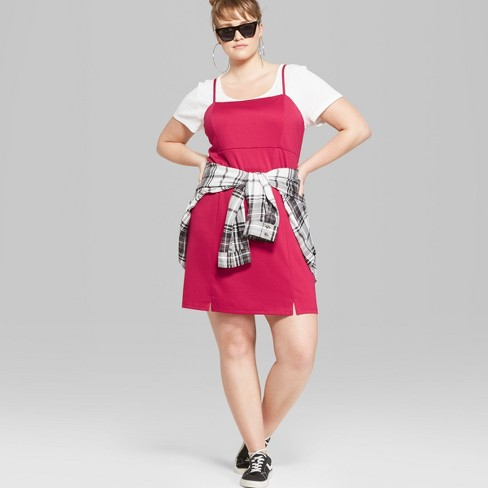 e6441eaa359 Women s Plus Size Strappy Knit Dress - Wild Fable™ Pink   Target