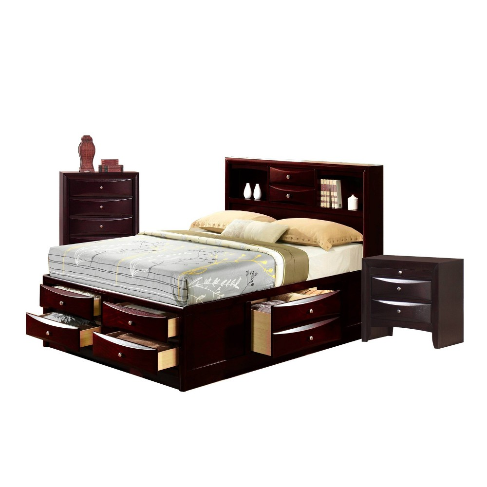 Image of 3pc Queen Madison Storage Bedroom Set Espresso Brown - Picket House Furnishings