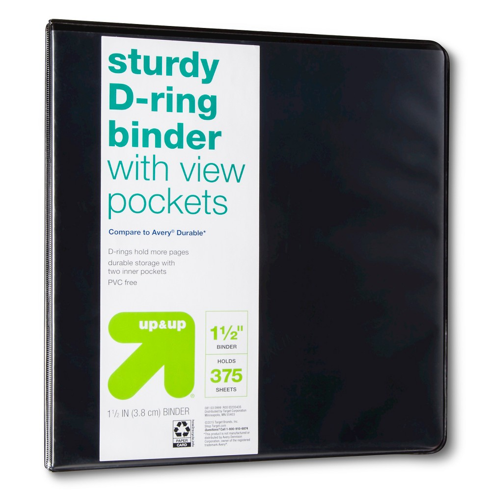 "Image of ""1.5"""" 3 Ring Binder Clear View Black - Up&Up"""