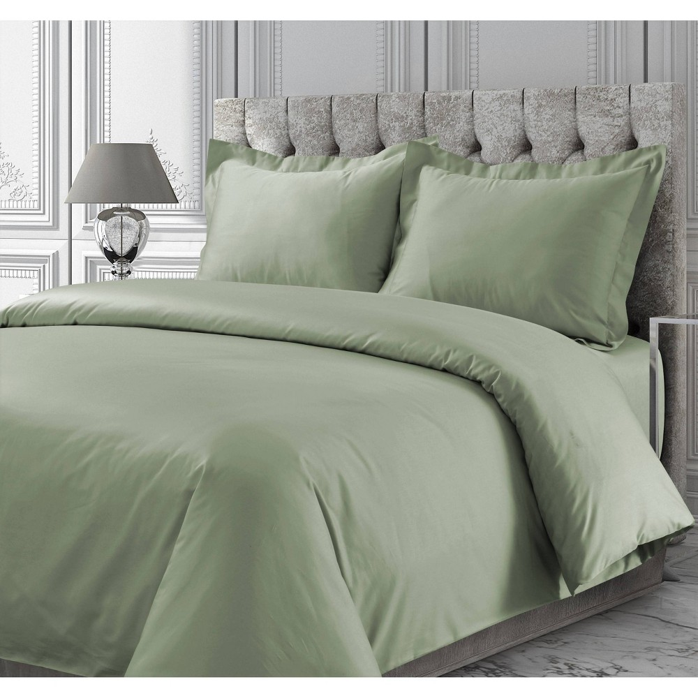 King 3pc 300 Thread Ct Rayon From Bamboo Oversized Duvet Set Green Tribeca Living