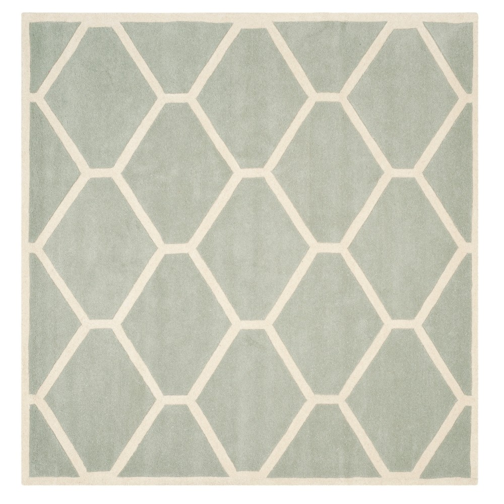 Grayivory Honeycomb Tufted Square Area Rug 7x7 Safavieh
