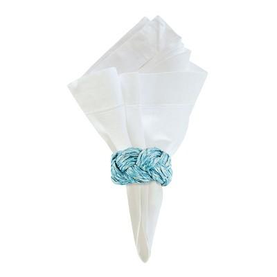 C&F Home Braided Aqua Napkin Ring Set of 6