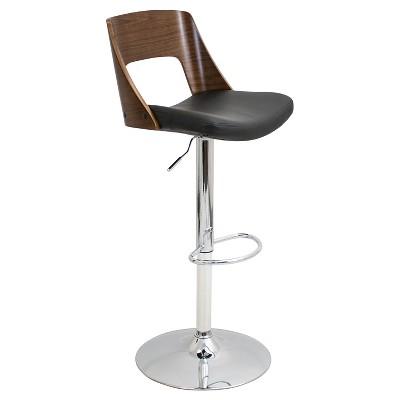 Valencia Mid-Century Modern Adjustable Barstool - Black - LumiSource