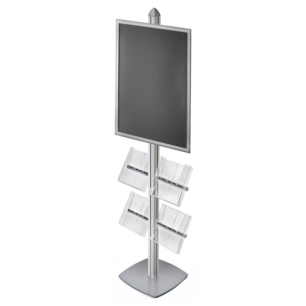 Azar Sky Tower Display Kit with 22 x 28 Snap Frame and Four Acrylic Brochure Side Pockets, Clear
