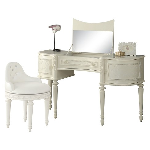 timeless design 10758 bcf7b Dorothy Kids Vanity Desk and Mirror - Ivory and Peal White - Acme