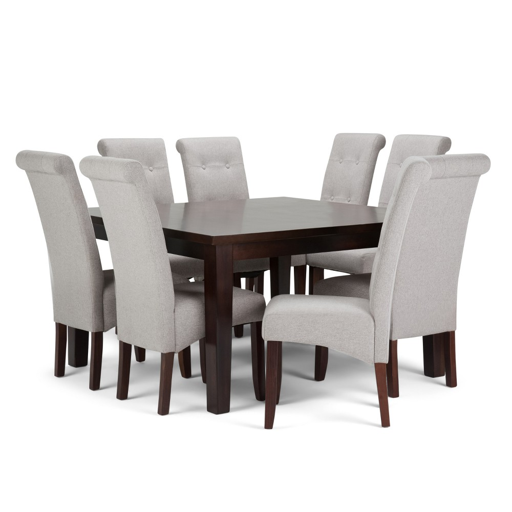 Essex Solid Hardwood 9pc Dining Set Cloud Gray - Wyndenhall, Cloudy Gray