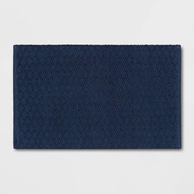 "20""x32"" Diamond Striped Bath Rug Dark Blue - Threshold™"