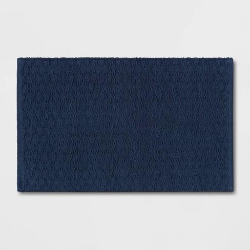 "20""x32"" Diamond Striped Bath Rug Dark Blue - Threshold™ - image 1 of 4"