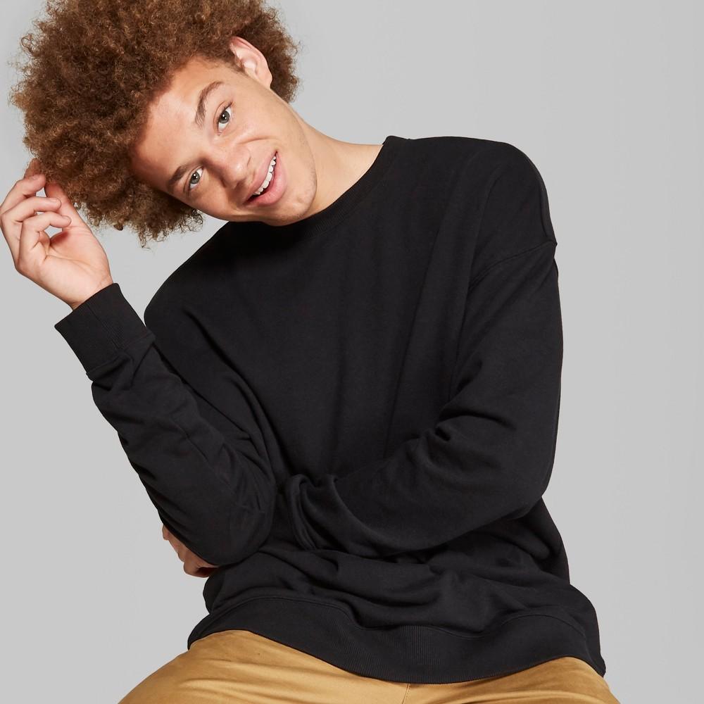Men's Lightweight Drop Shoulder Crew Neck Pullover Sweatshirt - Original Use Black 2XL