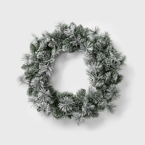 Image Christmas Wreath.24 Prelit Warm White Led Battery Operated Chunky Flocked Mixed Artificial Pine Christmas Wreath Wondershop