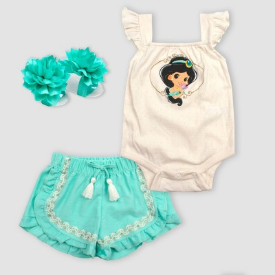 Baby Girls' 2pc Princess Jasmine Bodysuit Set - Turquoise Newborn
