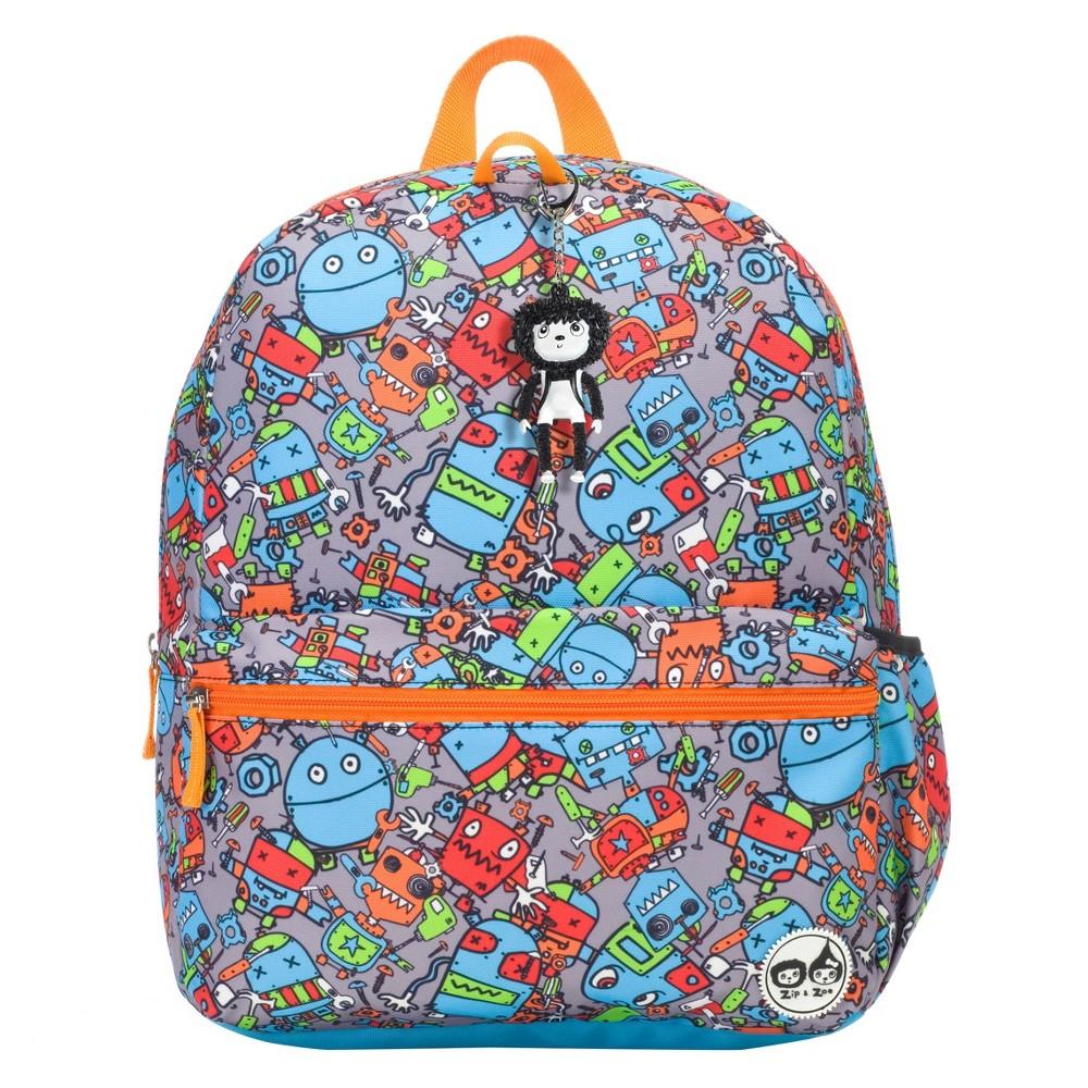 "Image of ""Zip & Zoe Junior 15"""" Kids' Backpack - Robots Blue, Kids Unisex, Size: Small"""