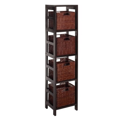 "54.8"" 5pc Leo Storage Shelf With Basket Set Espresso Brown - Winsome"