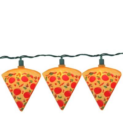 Kurt S. Adler 10ct Mini Supreme Pizza Slice Novelty String Lights  - 10' Green Wire