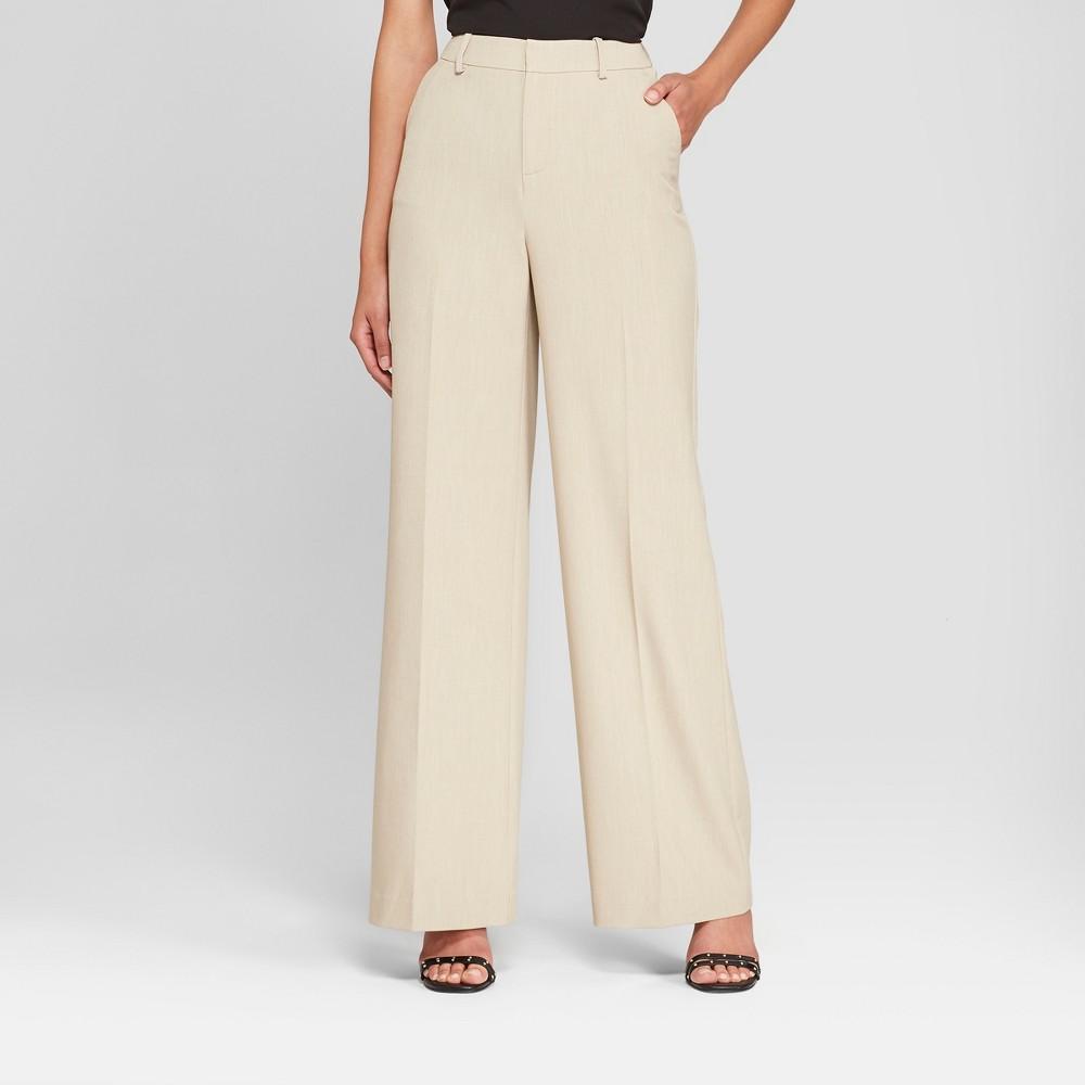 Women's Wide Leg Bi-Stretch Twill Pants - A New Day Khaki (Green) 8L, Size: 8 Long