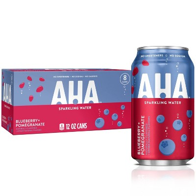 AHA Blueberry + Pomegranate Sparkling Water - 8pk/12 fl oz Cans