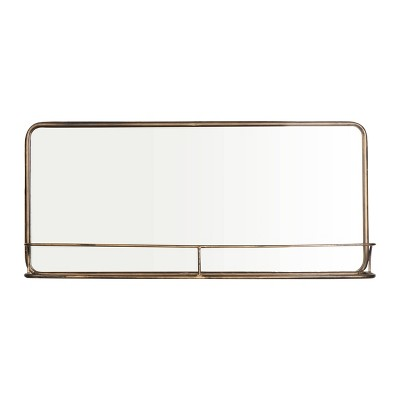 Brass Metal Framed Mirror with Shelf - 3R Studios