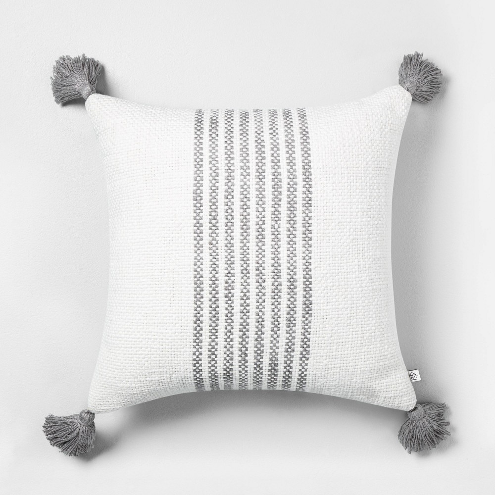 "Image of ""18"""" x 18"""" Center Stripes Throw Pillow Jet Gray - Hearth & Hand with Magnolia"""