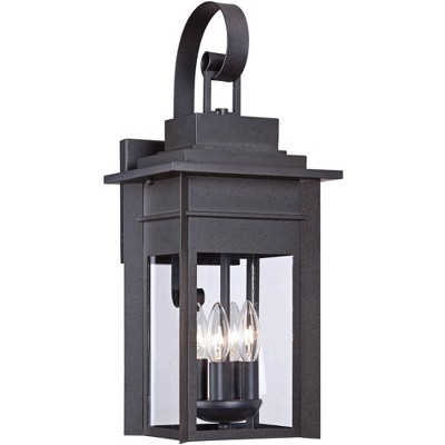 """Franklin Iron Works Traditional Outdoor Wall Light Fixture Black Specked Gray Carriage 21"""" Clear Glass for Exterior Patio Porch"""