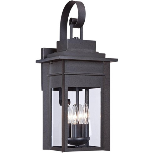 """Franklin Iron Works Traditional Outdoor Wall Light Fixture Black Specked Gray Carriage 21"""" Clear Glass for Exterior Patio Porch - image 1 of 4"""