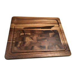 Kalmar Home 405 Large End Grain Inlay Cheeseboard with Knife Acacia Wood, Brown