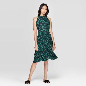Women's Floral Print Sleeveless Halter Neck A Line Midi Dress - Who What Wear™ Black S