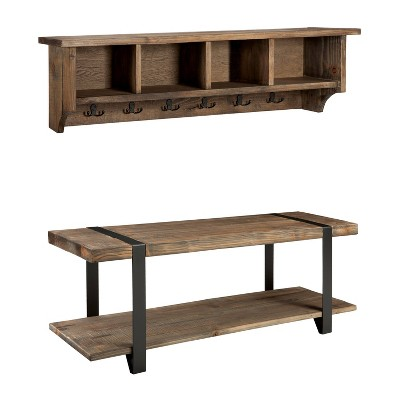 """48"""" Modesto Metal and Reclaimed Wood Wall Coat Hook with Bench Brown - Alaterre Furniture"""