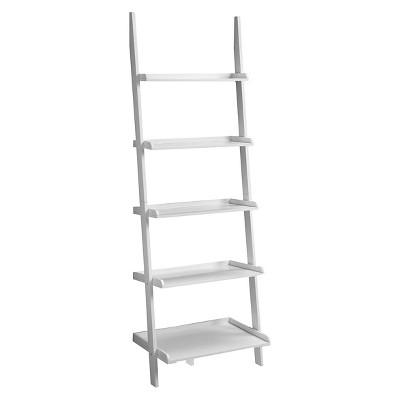 French Country Ladder 72  Bookshelf - White (5 Shelf)
