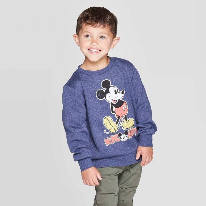 Toddler Boys' Mickey Mouse Crew Fleece Sweatshirt - Navy - image 1 of 3