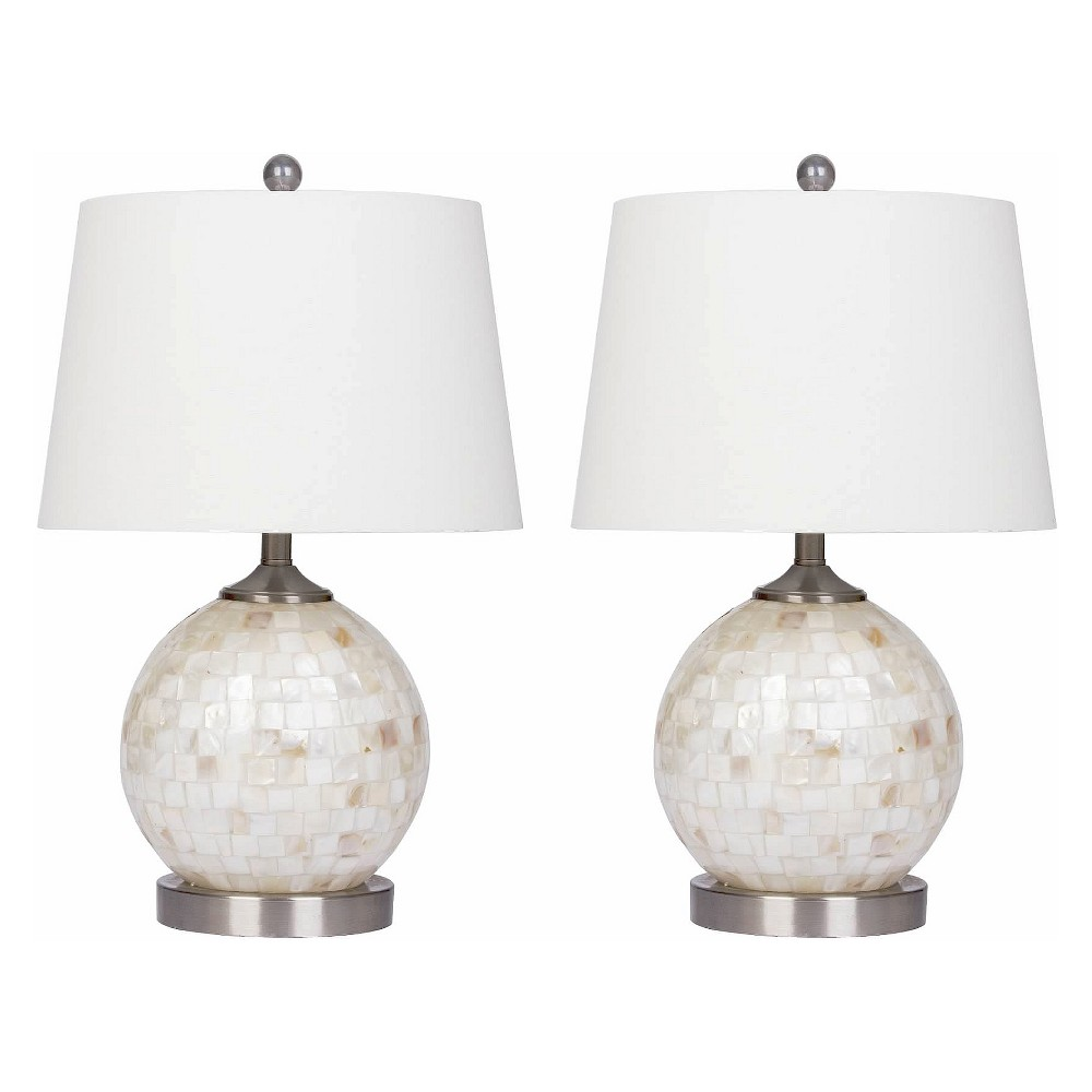 Set of 2 Becca Mother of Pearl Mini Round Table Lamps White (Lamp Only) - Abbyson Living