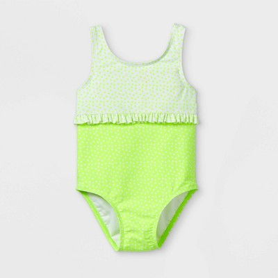 Toddler Girls' Polka Dot Bodice Ruffle One Piece Swimsuit - Cat & Jack™ Lime