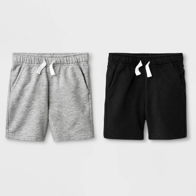 Toddler Boys' 2pk French Terry Play Pull-On Shorts - Cat & Jack™ Black/Heather Gray