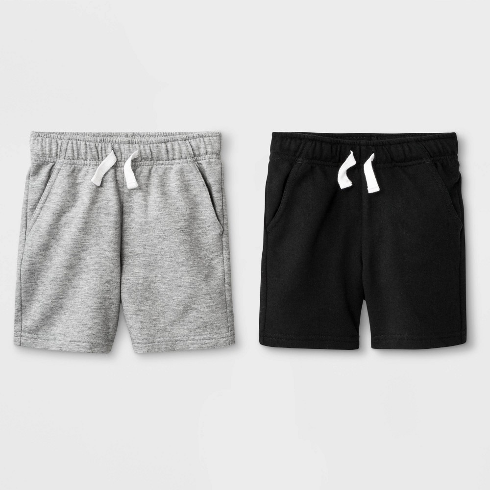 Toddler Boys' 2pk French Terry Play Pull-On Shorts - Cat & Jack Black/Heather Gray 12M