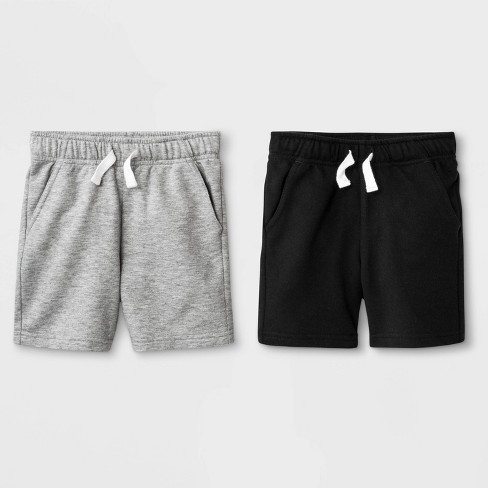 Toddler Boys' 2pk French Terry Play Pull-On Shorts - Cat & Jack™ Black/Heather Gray - image 1 of 1