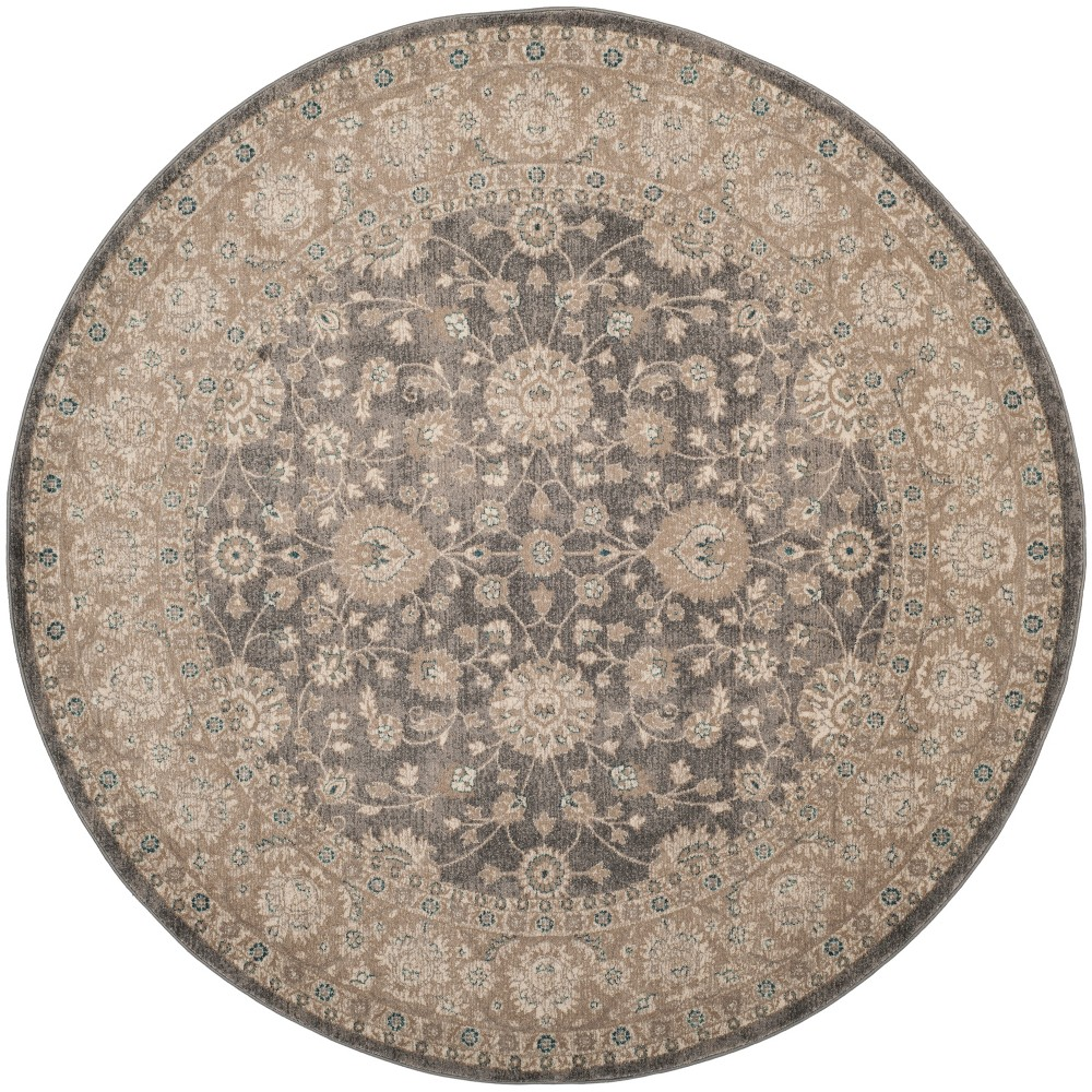 67 Floral Loomed Round Area Rug Light Gray/Beige - Safavieh Discounts