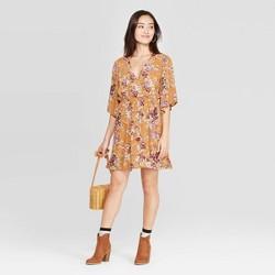 Women's Floral Print Elbow Sleeve V-Neck Mini Dress - Xhilaration™ Mustard
