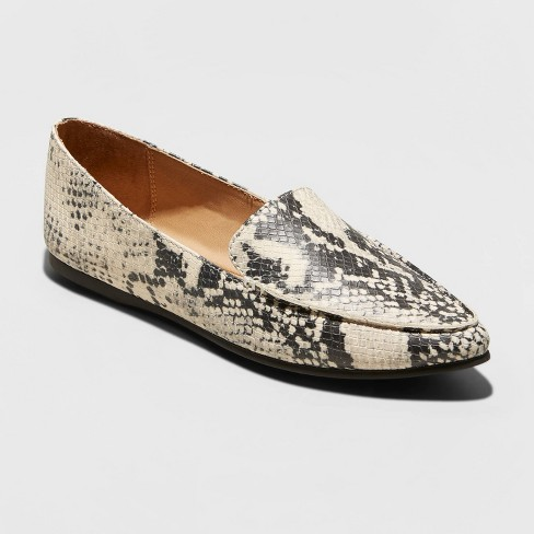 Women's Micah Faux Leather Snake Print Pointy Toe Loafers - A New Day™ Taupe - image 1 of 3