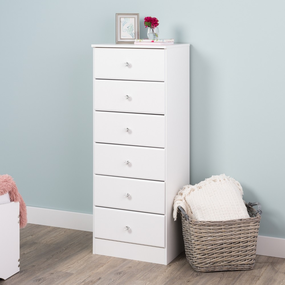 Astrid 6 Drawer Tall Chest with Crystal Knobs White - Prepac