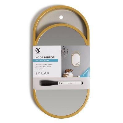 "U Brands 6""x12"" Hoop Mirror Dry Erase Board with Marker"