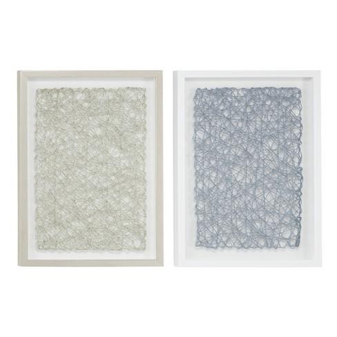 """(Set of 2) 16"""" x 21.5"""" Abstract String Art Shadow Box Wall Decor Silver/Gray - Olivia & May - image 1 of 4"""