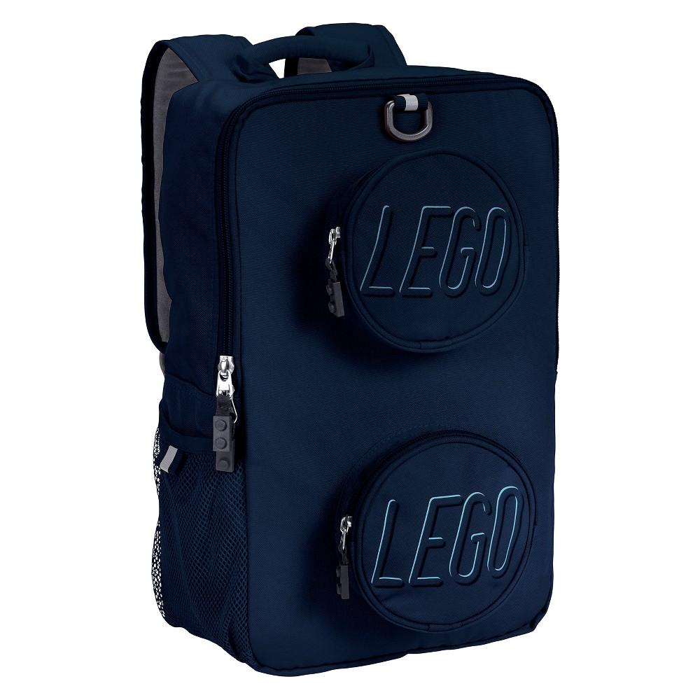 "Image of ""LEGO 16"""" Brick Kids' Backpack - Navy, Blue"""