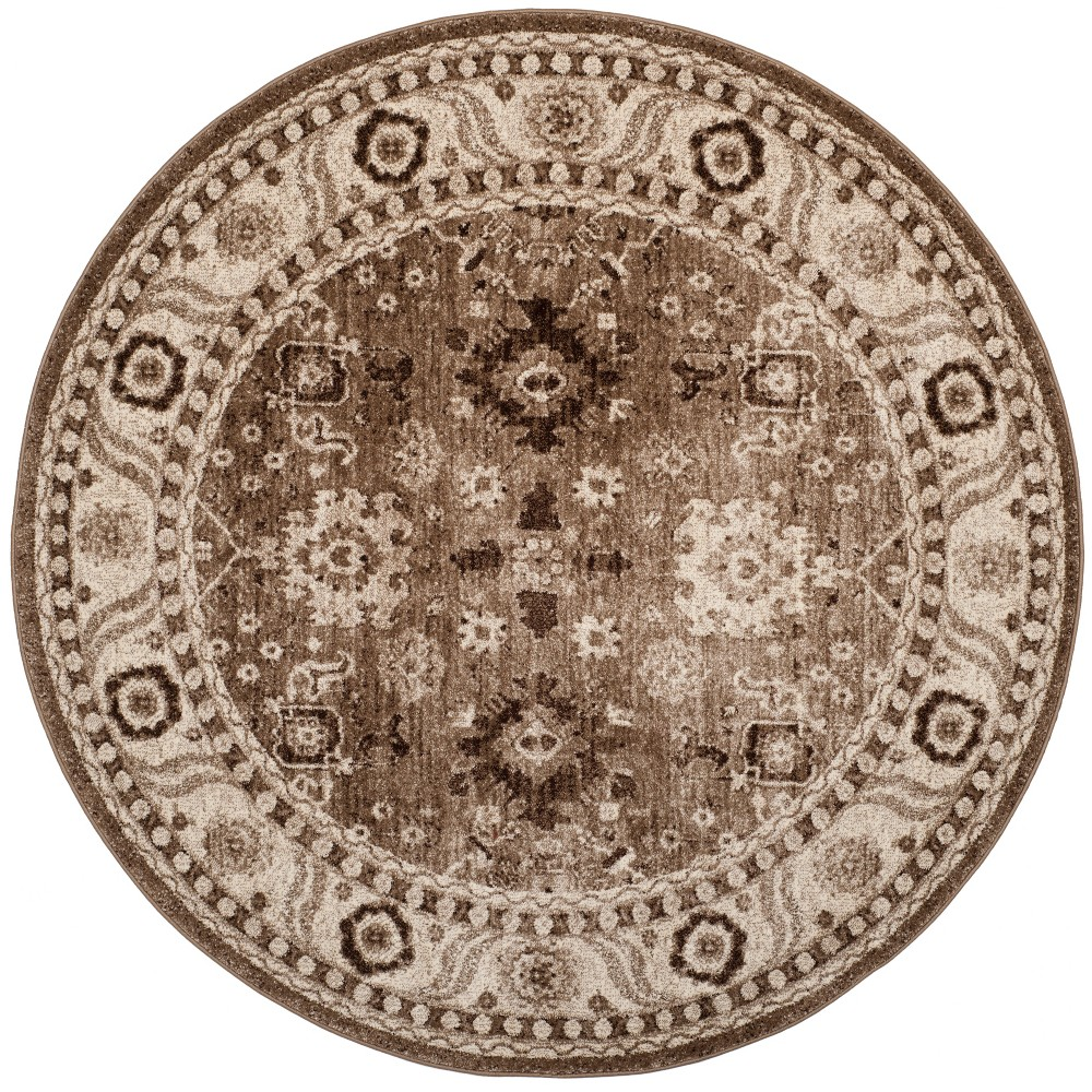 5'3 Floral Loomed Round Area Rug Taupe (Brown) - Safavieh