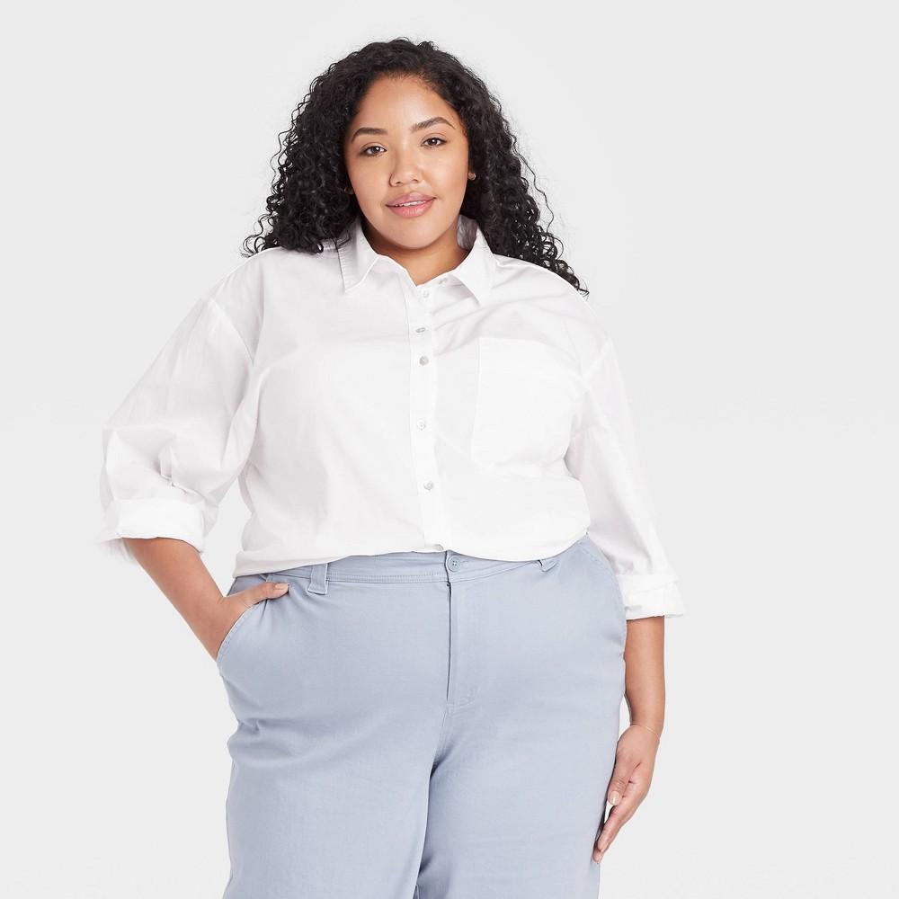 Women 39 S Plus Size Long Sleeve Button Down Boyfriend Shirt A New Day 8482 White 3x