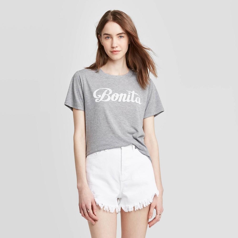 Women 39 S Bonita Short Sleeve Graphic T Shirt Juniors 39 Heather Gray L