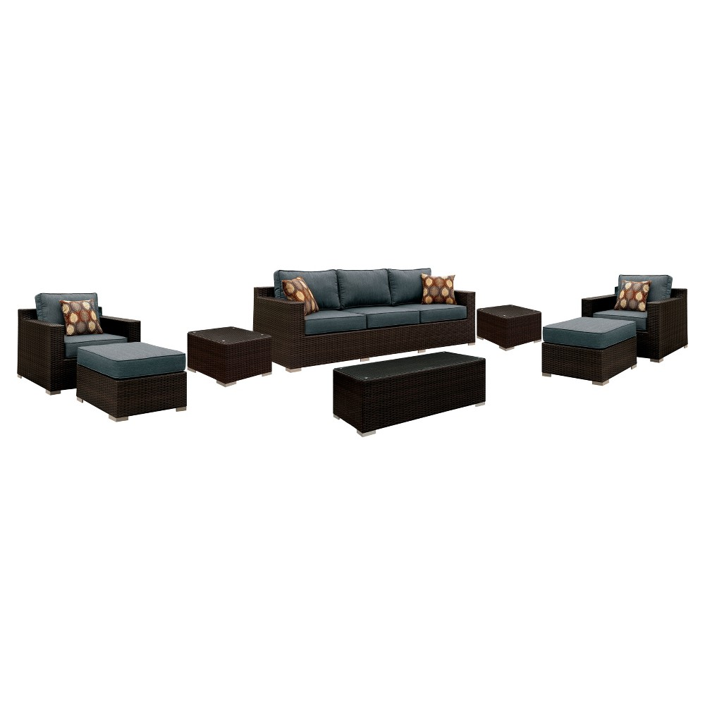 8pc Ainsley All Weather Wicker Patio Conversation Set Brown/Gray - miBasics
