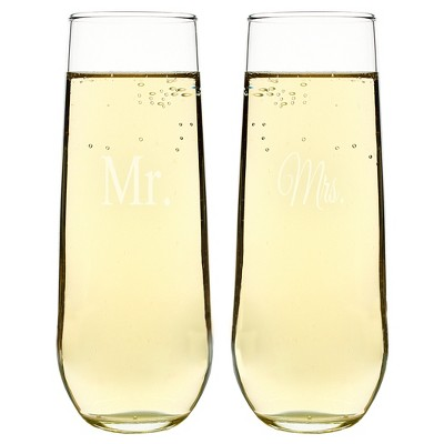 2ct Mr. & Mrs. Wedding Stemless Champagne Toasting Flutes