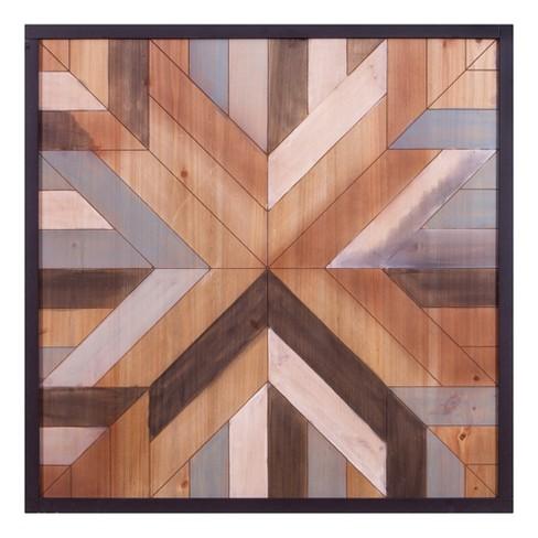 30 X30 Geometric Quilt Wood Wall Art Cream Patton Decor